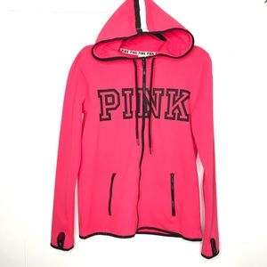 PINK VS Zip Hood Jacket Thumb Holes Spell Out Med